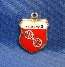 Vintage 800 Silver & Enamel Travel Souvenir Shield Charm MAINZ (Germany)