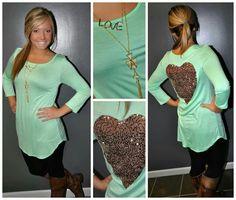 sequin heart top so cute!!<3