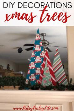 DIY Christmas Decor Ideas - Wrapping Paper Christmas Trees