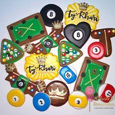 Billiards/Pool themed sugar cookies to celebrate her Crazy 8's birthday  #billiards #pool #poolstick #poolcookies #billiardscookies…