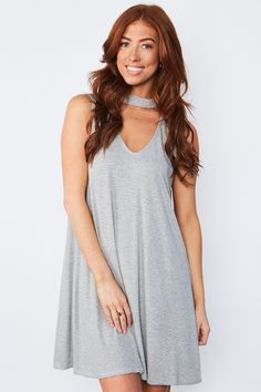 Tuck Dress - Striped Sleeveless A line Dress with Deep V Cutout Below the Halter Neckline