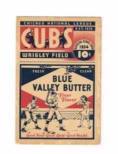 1934 Chicago Cubs Program at Wrigley Field vs. Pirates (w/ coach Honus Wagner) Cubs Cards, Go Cubs Go, Game Tickets, Wrigley Field, Cubs Fan, National League, Pittsburgh Pirates, Chicago Cubs, Vintage Ads