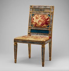 Side chair, Date: ca. 1790–1800 Culture: Italian, Sicily Medium: Carved, gilded and painted walnut, reverse-painted glass (verre églomisé), cut and voided 17th-century crimson silk velvet probably not original to the chair.
