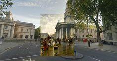 O usuário Shystone, do fórum de discussões Reddit, reuniu pinturas antigas e as sobrepôs em imagens registradas no Google Street View. Segundo ele, o quadro é sempre colocado sobre seu cenário original. A cena acima foi registrada em Londres (Reino Unido). As obras escolhidas para a brincadeira são de artistas como Canaletto e William Logsdail