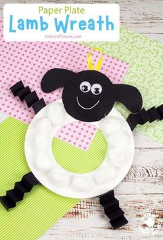 This PAPER PLATE LAMB WREATH craft is such a fun way to decorate the home or classroom this Spring or Easter. Each lamb craft has a round, fluffy, cotton ball tummy that make it so cute and characterful! A lovely paper plate craft for kids. #kidscraftroom #kidscrafts #eastercrafts #springcrafts #lambcrafts #paperplatecrafts #lamb #sheepcrafts D Paper Plate Crafts For Kids, Crafts For Kids To Make, Easter Crafts For Kids, Projects For Kids, Art For Kids, Toddler Games, Games For Toddlers, Lamb Craft, Cute Lamb