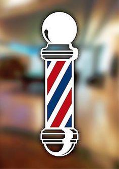 Barbers Sign Pole Window Adhesive Hair Salon