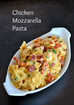 Farfalle pasta tossed with seasoned cooked chicken tenders, sundried tomatoes and bacon in a creamy mozzarella sauce. Pasta Recipes, Chicken Recipes, Dinner Recipes, Cooking Recipes, Dinner Ideas, Recipes With Farfalle Pasta, Meal Ideas, Supper Ideas, Noodle Recipes