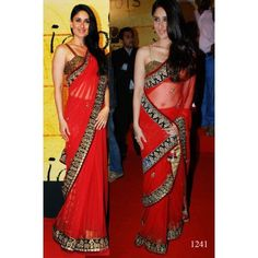Kareena Kapoor Saree Kareena Kapoor Red Rose Net Fabric Saree Bollywood Sarees