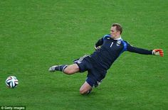 Out again: With little pace in the German back-line Neuer took on the role of sweeper-keep...