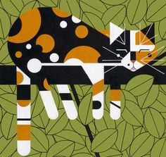 Limp on a Limb (Charley Harper. 2004). #Cat lovers - Join http://facebook.com/OzziCat * Get cat #magazine http://OzziCat.com.au