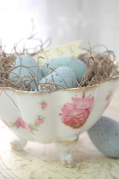 Eggs in a vintage Tea Cup:  Abby's Paperie Garden - Quote of the Day...and a peek at what I'm working on