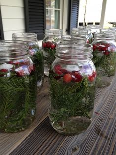 all those jars will be beautiful for the holidays...put each one up the table between 4 settings and so on....