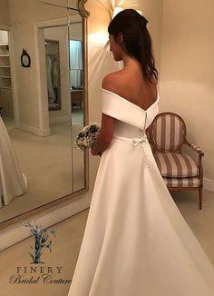 Cheap Bridal Dresses, Cheap Wedding Dresses Online, Long Wedding Dresses, Bridal Gowns, Satin Duchesse, Off Shoulder Wedding Dress, Boat Neck Wedding Dress, Burgundy Homecoming Dresses, Bridesmaid Dresses