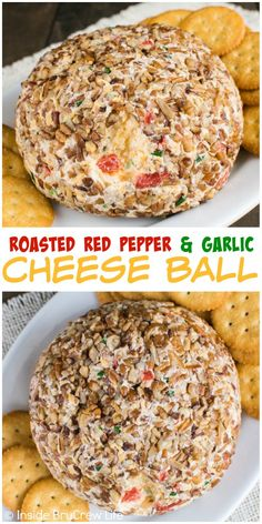 This delicious Roasted Red Pepper and Garlic Cheese Ball is a great appetizer for parties or game days. This delicious Roasted Red Pepper and Garlic Cheese Ball is a great appetizer for parties or game days. Cheese Appetizers, Appetizers For Party, Appetizer Recipes, Snack Recipes, Cooking Recipes, Snacks, Christmas Appetizers, Potato Recipes, Vegetable Recipes