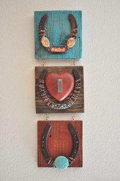 Believe, Hope 3 horseshoes- Copper Rustic Cowboy Western Horseshoe Art, western art, inspirational gift, rustic western decor. Western Crafts, Rustic Western Decor, Western Art, Cowboy Western, Horseshoe Projects, Horseshoe Crafts, Horseshoe Art, Horseshoe Ideas, Horseshoe Decorations