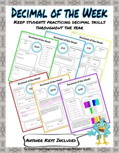 Decimal of the Week gives students an opportunity to practice TONS of decimal skills and operations. 18 pages and GROWING, including ~Number forms ~Place value ~Comparing ~Rounding ~Estimation (+, -, x, /) ~Addition ~Subtraction ~Powers of ten ~Multiplication ~Division ~Problem solving (most pages have 1-2 word problems)