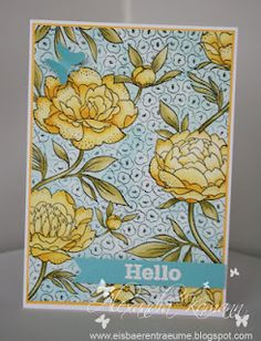 HA - Large Flower Background - coloured with distress inks. Colours used are: Wild Honey, Mustard Seed, Forrest Moss and Broken China; matted onto sunshine yellow card and added a turquoise butterfly and banner with heat embossed white sentiment (PI - Big Sentiments).