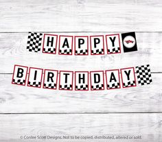 Race Car Printable Happy Birthday Banner by ConleeScottDesign