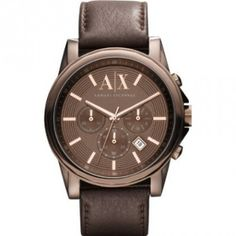 f16eaae7b A X Armani Exchange Brown Leather Rose Gold Chronograph Watch