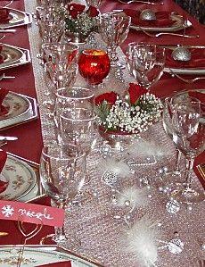 Noël rouge et argent centre table