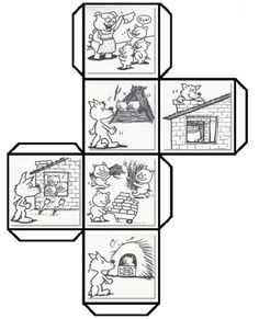 Have students color cut fold and paste to make a story cube that can be used to retell The Three Little Pigs and talk about shapes Leave a comment if you woul. Teaching Resources, Activities For Kids, Story Cubes, Traditional Tales, Three Little Pigs, Retelling, Book Crafts, Teaching English, Nursery Rhymes