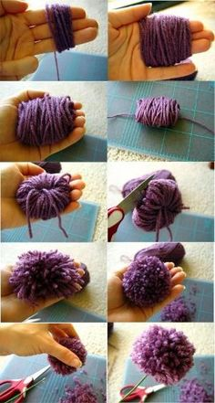 How to make pom pom flowers / como hacer flores pom pom. Pom Pom Flowers, Yarn Flowers, Pom Poms, Crafts For Teens, Diy Crafts To Sell, Arts And Crafts, Pom Pom Crafts, Yarn Crafts, How To Make A Pom Pom