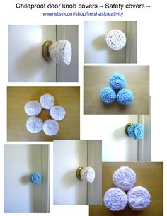 3 Crochet door knob cover, child safety cover, child proof, crochet ...
