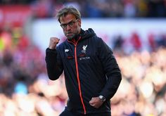 Jurgen Klopp, Manager of Liverpool celebrates his sides first goal during the Premier League match between Stoke City and Liverpool at Bet365 Stadium on April 8, 2017 in Stoke on Trent, England.