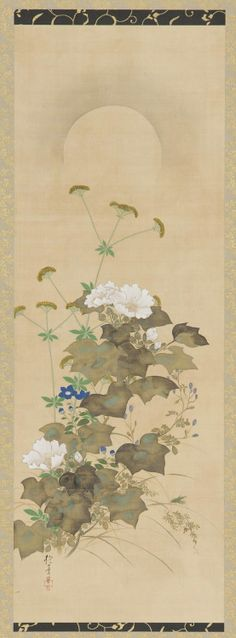 'Moon and Autumn Plants' (early 19th century). Ink and colour on silk by Sakai Hoitsu ( 1761-1828 ). Image and text courtesy Freer Gallery of Art and Arthur M. Sackler Gallery.