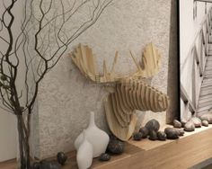 Magnificent Christmas Moose Home Decor 79 For Home Design Planning with Christmas Moose Home Decor Guangzhou, Modern Interior Design, Interior Design Living Room, Dallas, Christmas Moose, Nordic Home, Nordic Style, Animal Heads, Home Design Plans