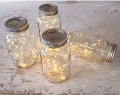 10 Lichterketten für Mason Jar. Rustikale Hochzeit Dekor, Led-Leuchten, Wedding Lichter, Mason Jar Licht für Hochzeit-Mittelpunkt. * leuchtet nur