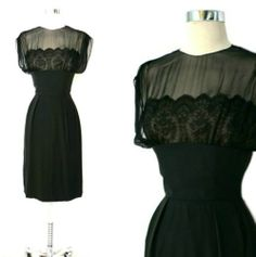 Vtg 50s 60s Silk LACE Illusion Couture Holiday Bombshell Cocktail Party Dress S