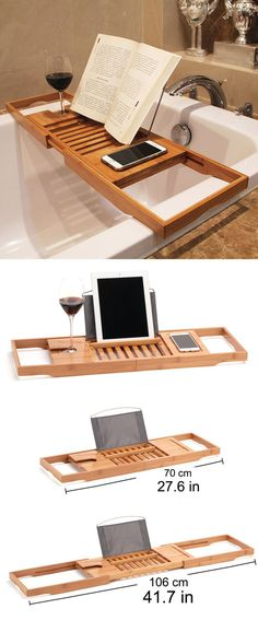Bamboo Bathtub Caddy Tray Extendable Luxury Spa Organizer with Folding Sides Natural, Ecofriendly Wood Integrated ipad or Tablet, Smartphone, Wine, Book Holders. Gift Ideas for Him or Her. New Home Gift Ideas. Home Spa, Home Décor Ideas. Gifts for Daddy. Birthday or Christmas Presents. #presents #giftideas #gifts #bathcaddy #giftsforhim #birthdaypresents #homedecor #home #gadgets #storagesolutions #affiliatelink #giftsforher #homespa