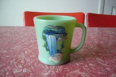 HTF Fire King Anchor Hocking Mug Cup Jadeite Niagara Falls Souvenir Flat Bottom sold for $285