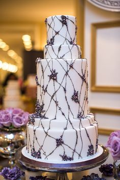 White Wedding Cake with Purple, Lavender & Grey Pearl Wedding - Bobbette & Belle
