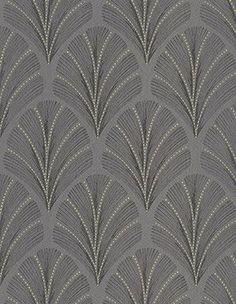 Papier peint FAUSTINE 100% intissé motif art déco, gris anthracite - Peinture et Papier Peint -