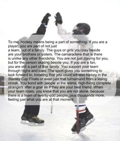 What hockey means...