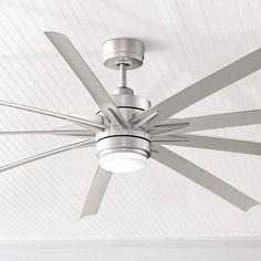 "84"" Odyn Brushed Nickel LED Outdoor Ceiling Fan - #8C755 | Lamps Plus"