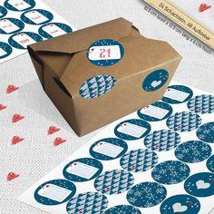 Adventskalender, 24 Bio- Boxen, 48 Sticker, blau von EINE DER GUTEN - Bücher für ein tolleres Leben auf DaWanda.com