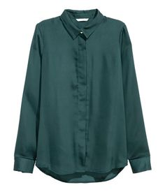 Long-sleeved Blouse | Teal | Ladies | H&M US