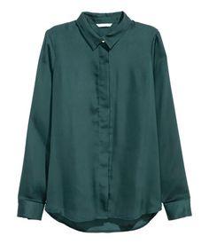 Long-sleeved Blouse | Teal | Ladies | H&M US