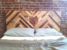 How to get the look of reclaimed wood planks with DIY adhesive wood planks and wood panels, from the experts in reclaimed wood at Indeed Decor. Herringbone Headboard, Wood Headboard, Headboard Ideas, Chevron Headboard, Leather Headboard, Homemade Headboards, Diy Headboards, Make Your Own Headboard, Headboard Designs