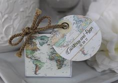World Map Favor Boxes 25 at 1.50 ea. map design by JanineLeaSwan