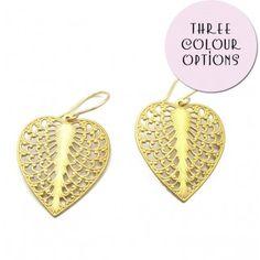 Filigree Heart Leaf Earrings