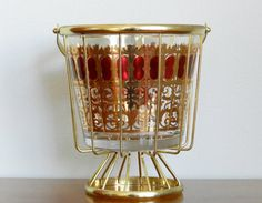 Vintage Culver Glass Ice Bucket Gold Metal Stand Holder Cranberry Scroll Signed Holiday Barware