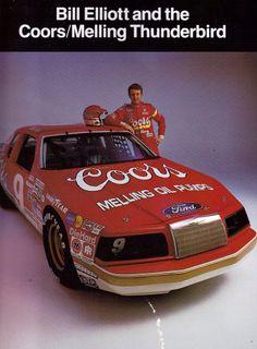 Chase Elliott Nascar, Vintage Race Car, Vintage Auto, Ford Motorsport, Bill Elliott, Nascar Race Cars, Classic Race Cars, Ford Thunderbird, Drag Racing