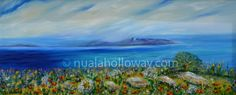 """""""Dawn Skies over Dalkey Island"""" by Nuala Holloway - Oil on Canvas Countryside, Oil On Canvas, Dawn, Sky, Island, Landscape, Water, Artist, Painting"""