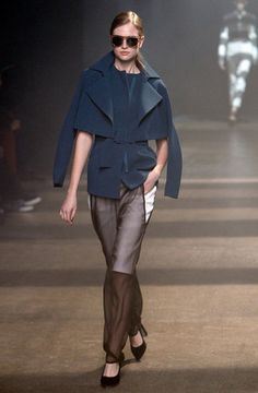 @3.1PhillipLim Olympian blue coat & sheer French Roast sheer trousers, I love the coats silhouette.