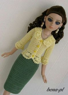 bena-pl Clothes for Ellowyne Wilde, Amber, Lizette, Prudence OOAK outfit Barbie Knitting Patterns, Barbie Clothes Patterns, Clothing Patterns, Dress Patterns, Crochet Doll Dress, Crochet Barbie Clothes, Girl Doll Clothes, Barbie Dolls Diy, Barbie Dress
