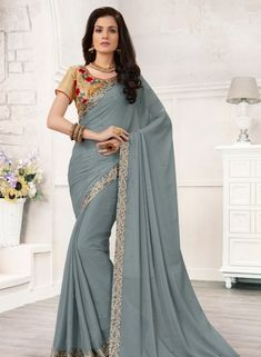 Grey Saree, Chiffon Saree, Buy latest Saree with custom stitching and worldwide shipping. Sari Silk, Chiffon Saree, Georgette Sarees, Kurti, Designer Sarees Wedding, Grey Saree, Indian Sarees, Pakistani, Latest Sarees